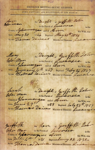 Ebenezer Meeting House Register [Click to enlarge image]