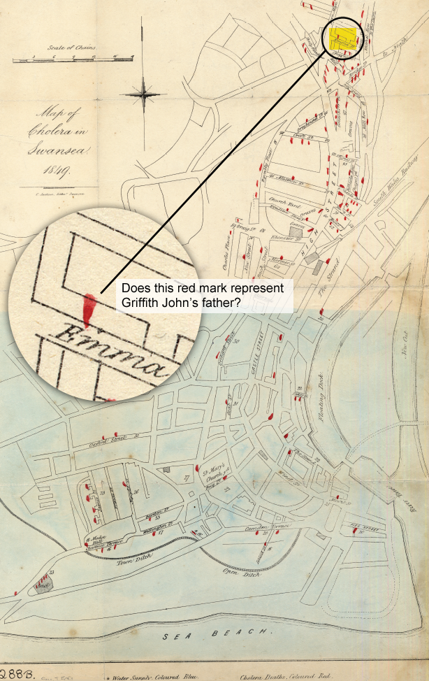 Map of Cholera in Swansea 1849 [Click to enlarge image]