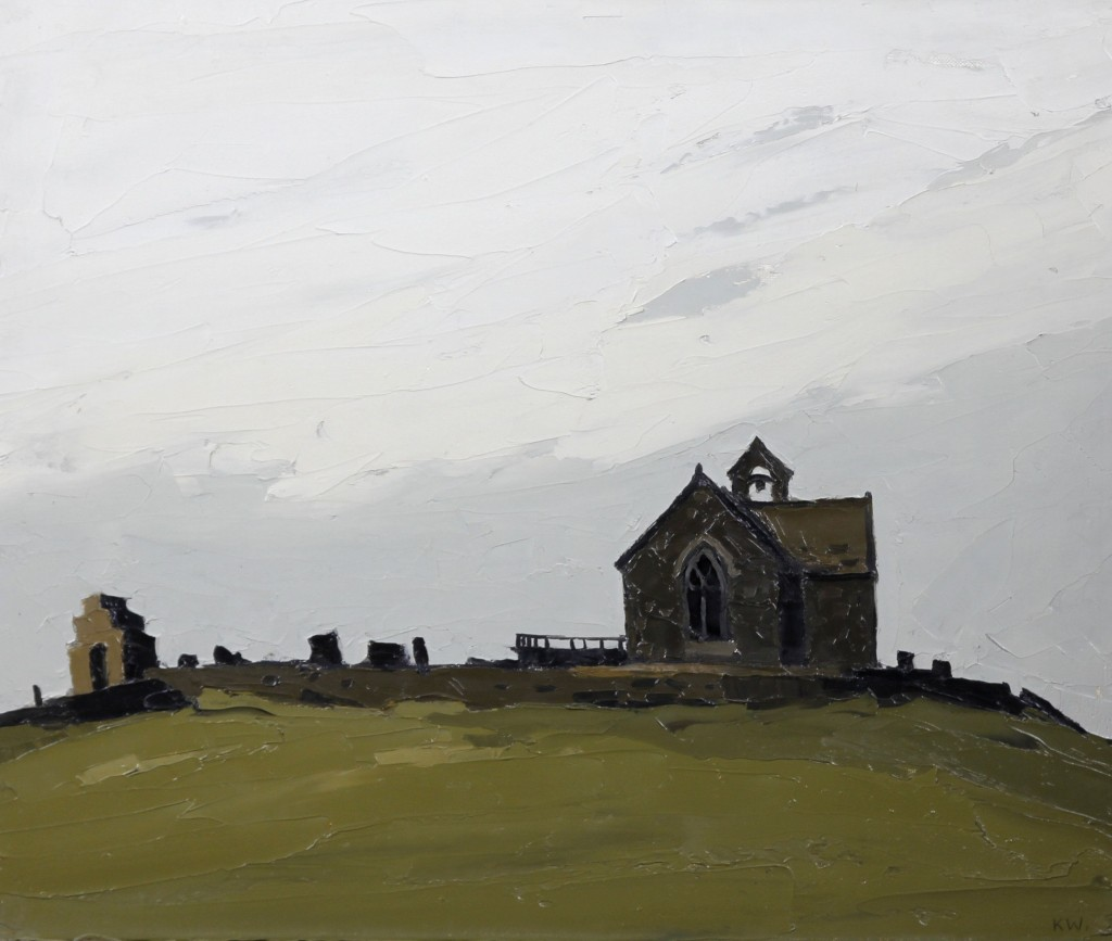 'Llanryhwydrus - (the artist's grandfather's church)' signed with initials 'KW.' (lower right); bears label verso oil on canvas  51 x 61cm (20 1/16 x 24in). Painted in 1972.  Sold for £25,000