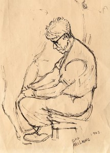 3. David Jenkins milking, 1963. pen and ink drawing